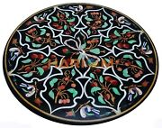36 Black Marble Dining Table Top Malachite Jasper Floral Inlay Home Decors B323