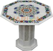 36 White Marble Counter Table Top 22 Stand Paua Shell Floral Inlaid Decor W469