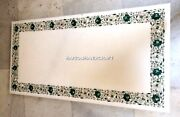 Marble Dining Table Malachite Floral Rare Inlay Kitchen Marquetry Decorate H3378