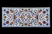 4and039x2and039 White Marble Floral And Birds Inlay Counter Table Top With 18 Leg Base W603