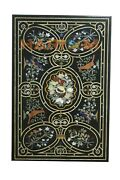 2.5and039x4and039 Marble Dining Table Top Precious Stone Birds And Floral Inlay Decors B691