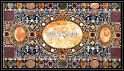 Marble Side Dining Top Inlaid Semi Precious Stone Table Decoration Outdoor H3942