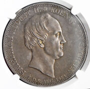 1854, Saxony, Frederick Augustus Ii. Silver Mourning 2 Thaler Coin. Ngc Au-58