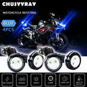 4x Round Blue Led Rock Lights For Car Suv Jeep Offroad Truck Boat Under Body