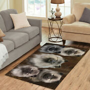 Personalized Rustic Keeshond Dogs Living Room Area Rug Pet Photo Rug Mats