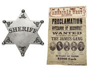 American Western Old West Jesse James Gang Wanted Poster And Classic Sheriff Badge