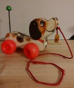 fisher Price Vintage 1965 Little Snoopy Dog With Shoe Wood Pull Toy 693