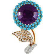 1.50ct Natural Round Diamond 14k Solid Yellow Gold Amethyst Turquoise Brooch Pin
