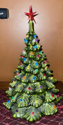 Tall Large Green Ceramic Lighted Christmas Tree Mold 16 No Base