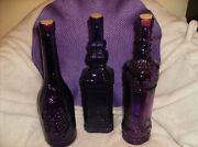 New 3 Pc Purple Amethyst Glass Wine Bottle Set Of 3 With Corks 12 H X 3 New