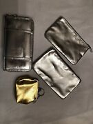 Metallic Silver Gold Wallet Lot Of 4 Cosmetic Bags Coins Cards Euc