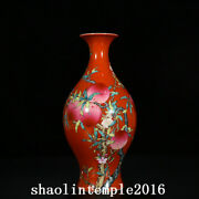 14.8 China Qing Dynasty Red Background Pastel Eight Peaches Olive Bottle