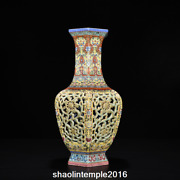 15.6 Old China The Qing Dynasty Enamel Hollowing Out Six Sides Bottling