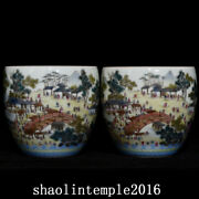 A Pair China Qing Dynasty Pastel Riverside Scene At Qingming Festival Cup