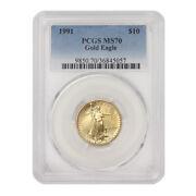 1991 10 Gold Eagle Pcgs Ms70 American 22 Kt 1/4 Oz Bullion Coin Low Pop Of 64