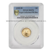 1999-w 5 Gold Eagle Pcgs Ms70 Mint Error Struck With Unfinished Proof Dies