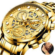 Gold Menand039s Watch Relojes De Hombre Mechanical Stainless Steel Luminous Classic