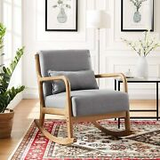 Solid Wood Rocking Chair Armchair Linen Fabric Accent Chair Lounge Chair Ups Dl
