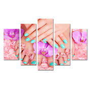 Beautiful Nails Salon Wall Art Poster Canvas Print Painting Framed Home Decor 5p