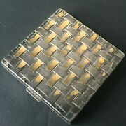 Vintage Charles Of The Ritz Usa Compact Powder Mirror Silver Gold Tone Art Deco