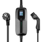 Portable 10/16a Electric Vehicle Charger Ev Charging Cable Type2 Lcd Iec Schuko