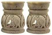 Handcrafted Aroma Burner Elephant Carved Soapstone Oil Diffuser Light Candle 2pc