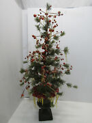 Old Vintage Berry Holly Icicle Bendable Christmas Tree Table Top Christmas Deco