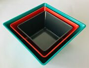 3 Large Square Melamine Serving Bowls Graduated 7 Grey 8.5 Coral 10 Turquoise