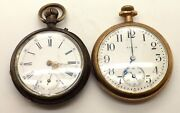 2 Antique Pocket Watches For Spares Or Repairs Elgin And Swiss Pin Set