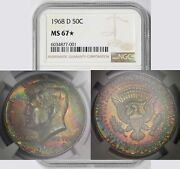 1968-d Kennedy Half Dollar 50c Ms 67 Star Ngc Color Toned