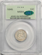 1845 10c Seated Liberty Dime Pcgs Ms 64 Uncirculated Ogh Cac Approved Undergr...