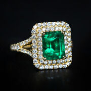 2.35ct Natural Round Diamond 14k Solid Yellow Gold Emerald Wedding Cocktail Ring