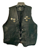 Leather Vest Motorcycle Menand039s Black Chain Extenders Snaps Size 46 Lace Up Biker