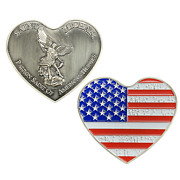 St. Michael Patron Saint Of American Heroes Heart Love Flag 2.5 Challenge Coin