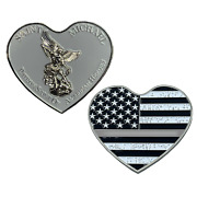 St. Michael Patron Saint Of American Heroes Heart Gray 2.5 Challenge Coin