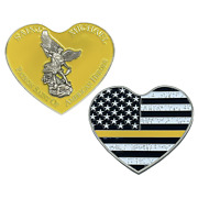 St. Michael Patron Saint Of American Heroes Heart Yellow 911 2.5 Challenge Coin