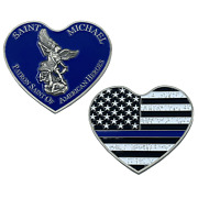 St. Michael Patron Saint Of American Heroes Heart Blue Police Challenge Coin