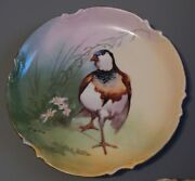 Antique French Limoges Game Bird Plate Charger Artist Signed + Bavarian Plate