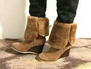 Uggs Women Brown Suede Leather Boots By Ugg High Heel Size 7 New 195