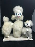 Vintage 1950's Poodle Dog And Puppy Ceramic Figurine, Faux Fur And Glass Eyes