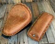2010-2021 Sportster Harley Spring Seat Conversion Kit Tan Dist Leather Seat Pad