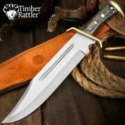 Timber Rattler Western Outlaw Bowie Knife And Sheath Large 16 1/2 Hardwood Handle