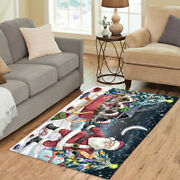 Personalized Christmas Santa Sled Keeshond Dogs Living Room Area Rugs Mats