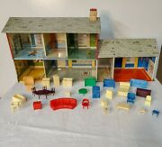 1953 Marx Tin Litho Colonial Dollhouse With Furniture Lights Doorbell Breezeway