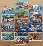 13 Military Large Letter Linen Postcards - Wwii 1940's - Great Lot
