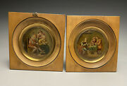 Early Pair Sign D.t. Manner Of David Teniers Miniature Paintings Tavern Scenes