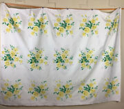 """Vintage Wilendur White Cotton Tablecloth With Yellow Roses 80"""" X 62"""" Rectangle"""