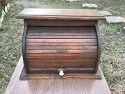 Vintage Roll Top Bread Box Wood Rustic Primitive Country Kitchen Wooden Large
