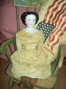 Extremely Large, 26, C1860-70, Beautiful Antique, German China, Flat Top Doll