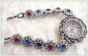 Antique Silver Ruby Emerald Turkish Jewelry Lady's Handcrafted Bracelet Watch